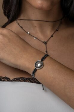 bracelet with silver-plated tag with pomegranate