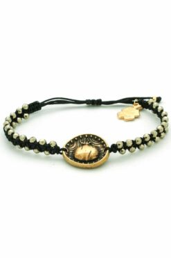 bracelet with gold-plated tag with pomegranate