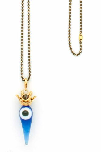 necklace with evil eye and crown