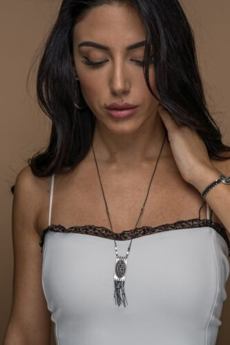 long black evil eye necklace