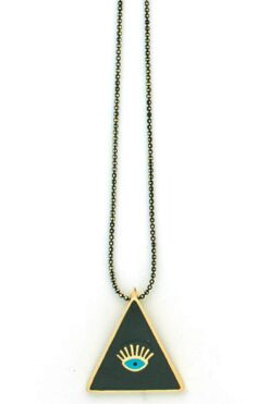 long necklace with evil eye in black