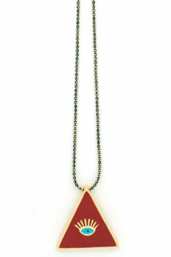 long necklace with evil eye in red