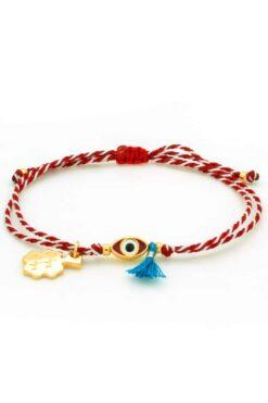 March bracelet with evil eye & blue tuft