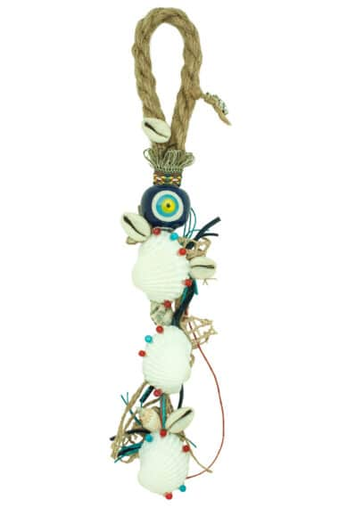 summer charm with blue evil eye and shells