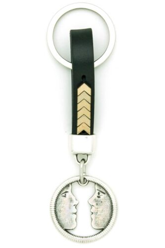 black leather keychain for couples