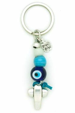 keyring with cross & evil eye