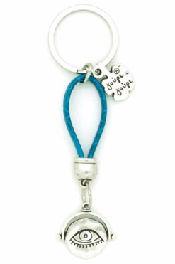leather keyring with evil eye