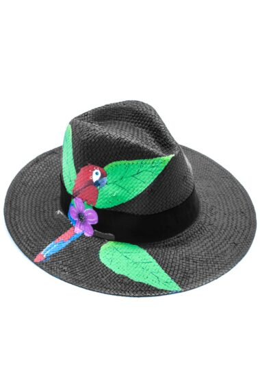 black summer straw hat, Panama style, with parrot