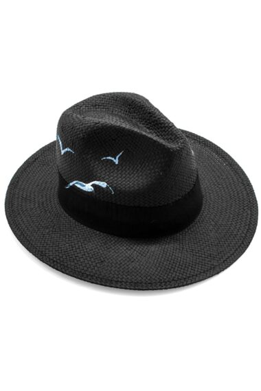black, Panama style, summer straw hat with seagull