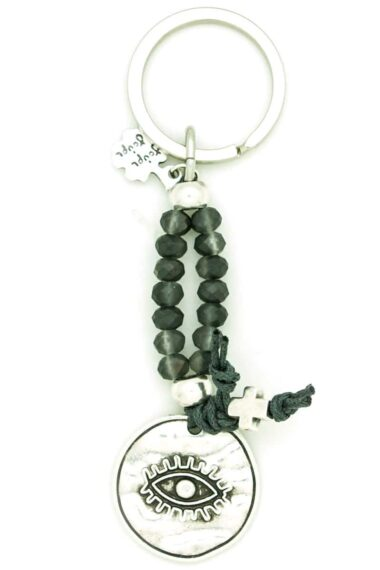 keychain with evil eye and cross