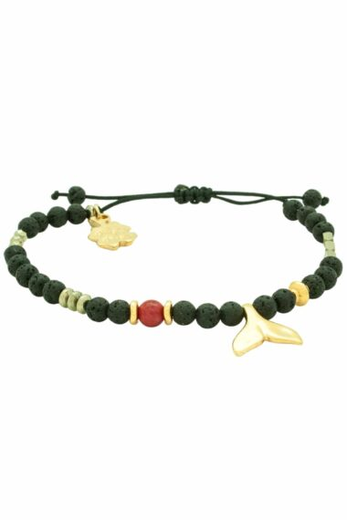 black lava bracelet with gold-plated fishtail