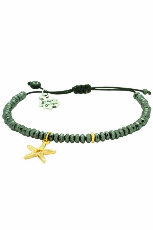 black bracelet with starfish