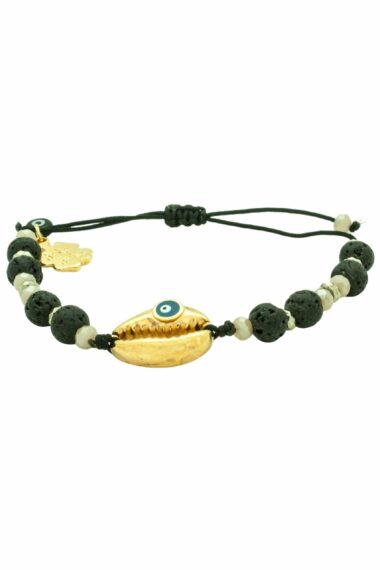 black lava bracelet with gold-plated shell