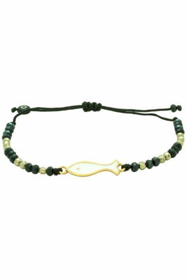 black bracelet with white fish