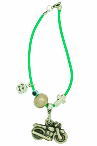 green good luck charm for motorcycle with green enamel bead