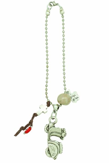 beige good luck charm for motorbike with cross