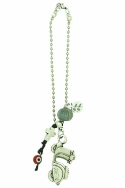 grey good luck charm for motorbike with cross
