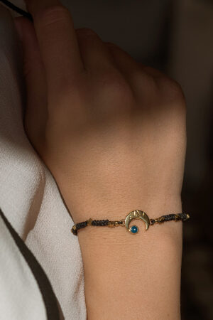 bracelet with gold-plated half moon & stars