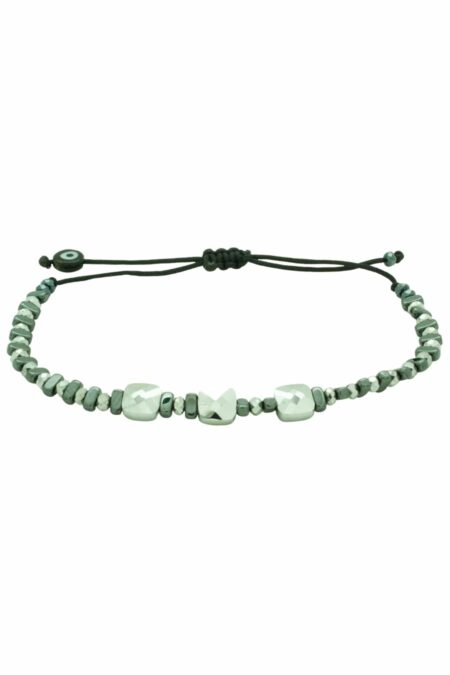 silver bracelet with three square beads