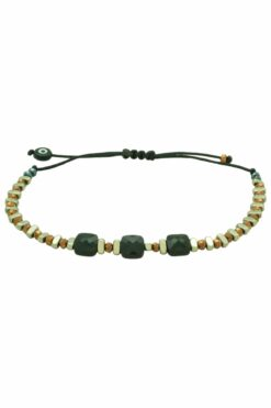 golden bracelet with three square beads
