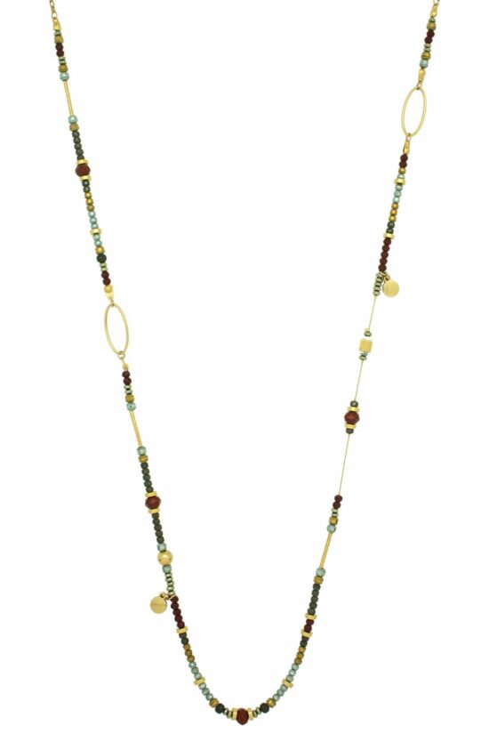 long asymmetric necklace with red multi-faceted beads