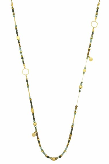 long asymmetric necklace with gold-plated cubes