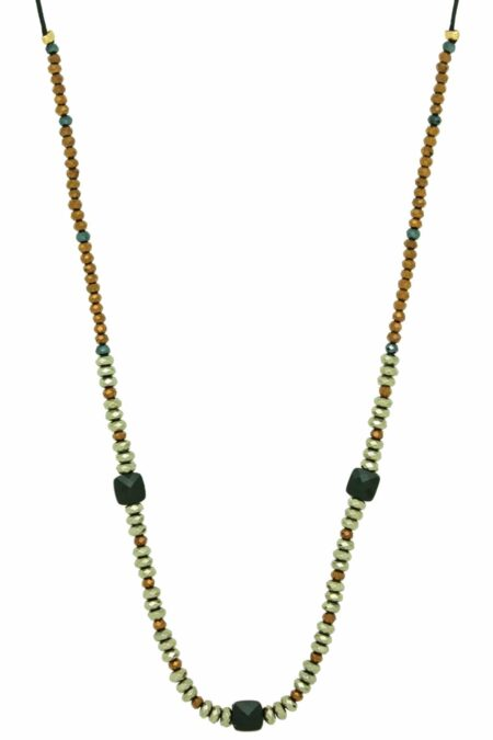 golden necklace with three square beads
