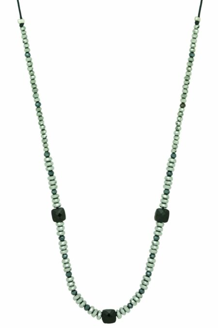 silver necklace with three square beads