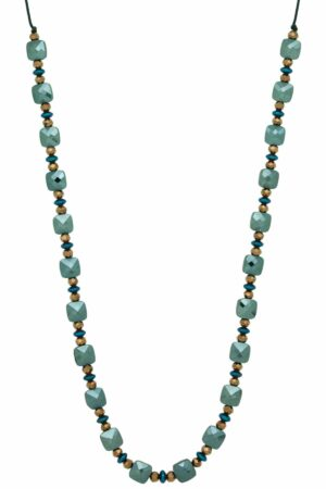 green necklace with square beads