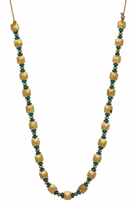 golden necklace with square beads