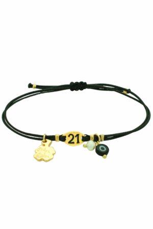 subtle leather bracelet with golden 21