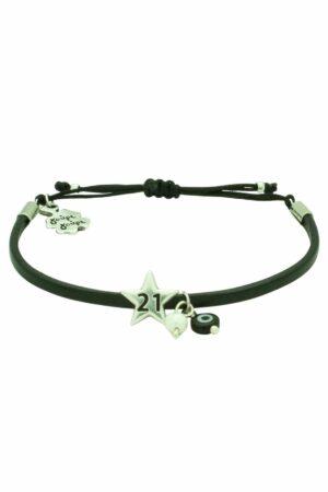 black leather bracelet with '21