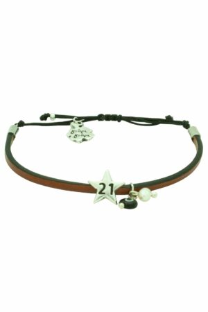brown leather bracelet with '21