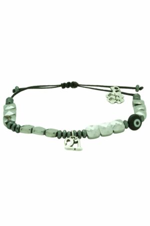 silver '21 bracelet with square hematite beads