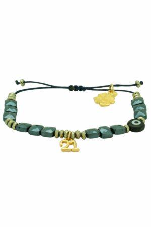 gunmetal green '21 bracelet with square hematite beads