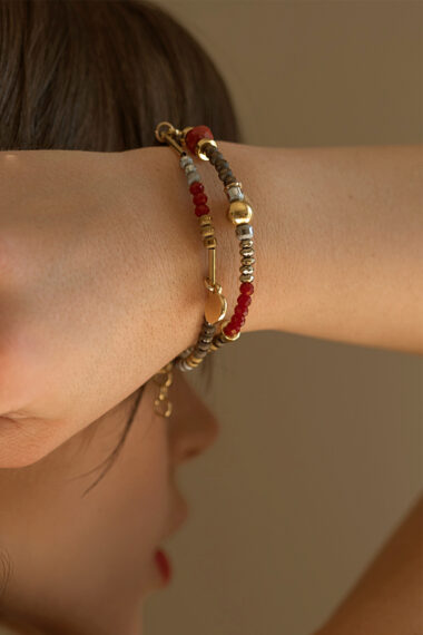double bracelet with gold-plated elements