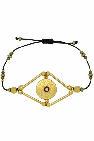 bracelet with gold-plated tag with red evil eye