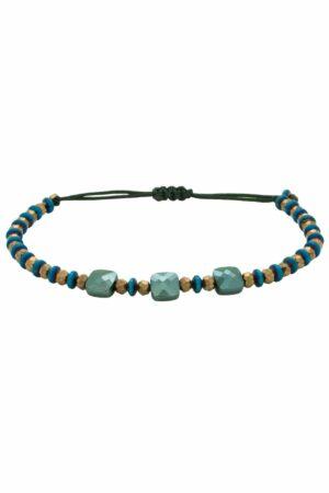 blue bracelet with three square beads