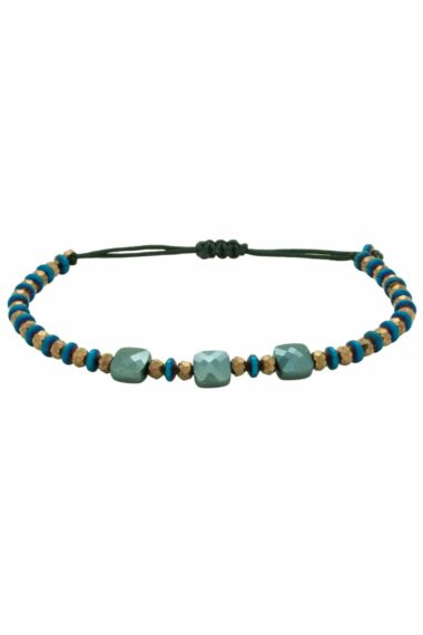 blue bracelet with three square beads