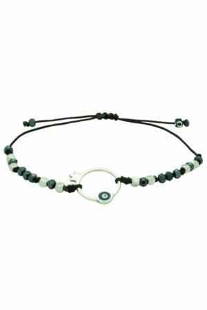 bracelet with silver pomegranate and evil eye