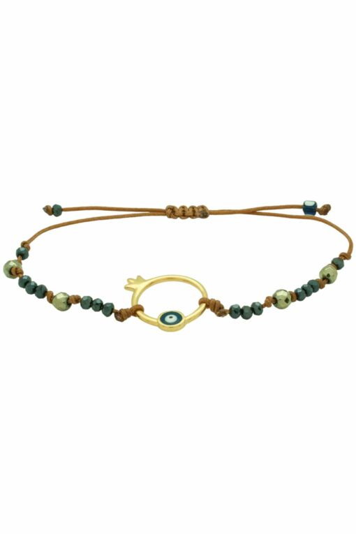 bracelet with golden pomegranate and evil eye