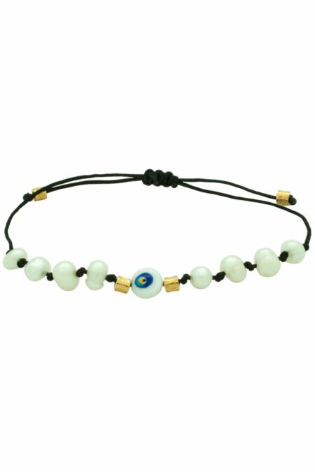 black bracelet with pearl beads and evil eye