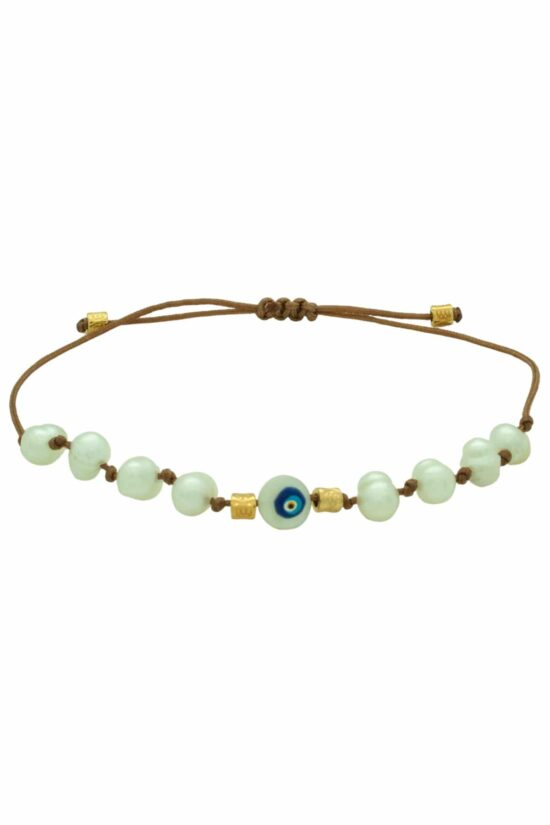 brown bracelet with pearl beads and evil eye