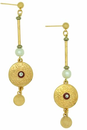 earrings with gold-plated pendant with evil eye