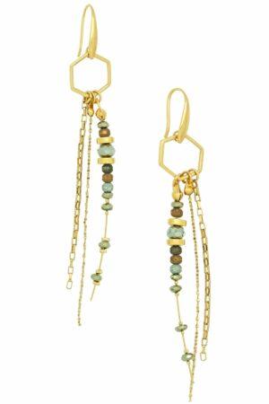 polygon earrings with hematite beads