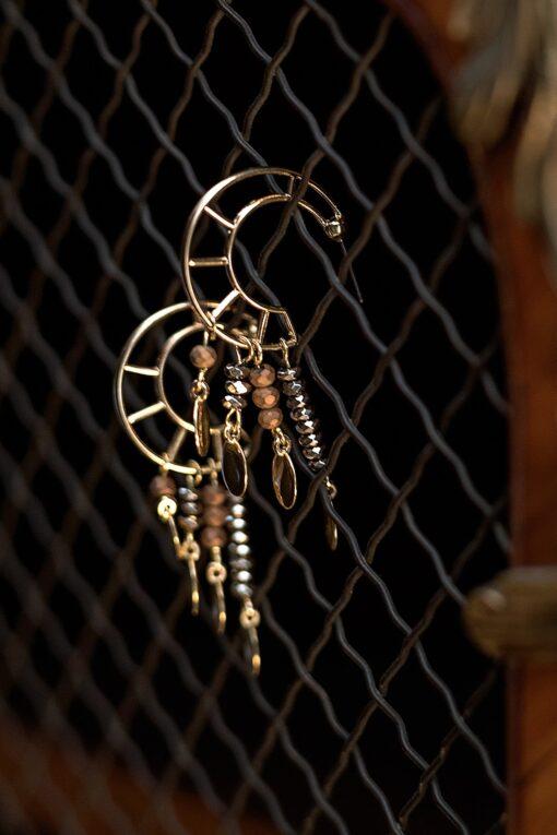 half-moon earrings with gloss & matte hematite