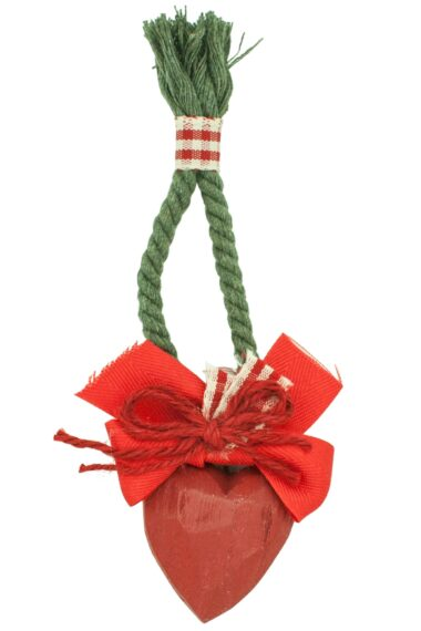 Christmas charm with red wooden heart
