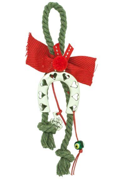 Christmas good luck charm with horseshoe