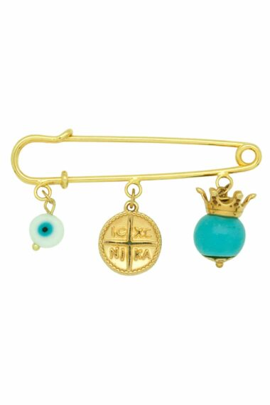 new baby boy good luck charm with gold-plated pin