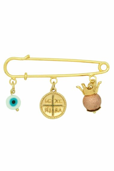 new baby girl good luck charm with gold-plated pin